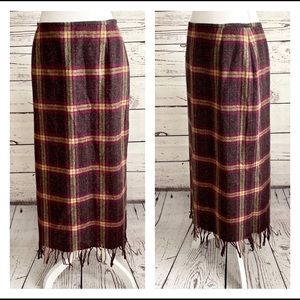 Norton McNaughton Wool Plaid Fringed Maxi …